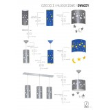 ALDEX 710C/3 | Gwiazdy Aldex fali lámpa 1x E14 ezüst, fehér