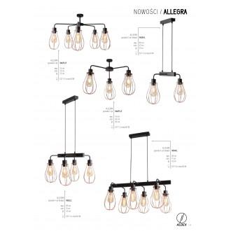 ALDEX 960PL/F | Allegra Aldex mennyezeti lámpa 5x E27 fekete, vörösréz