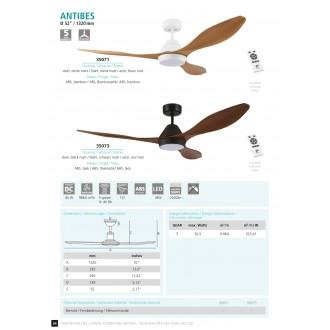 EGLO 35071 | Antibes-EG Eglo ventilatorska lampa stropne svjetiljke daljinski upravljač timer 1x LED 2000lm 4000K bijelo mat, boje bambusa