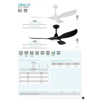 EGLO 35008 | Cirali-52 Eglo ventilatorska lampa stropne svjetiljke daljinski upravljač jačina svjetlosti se može podešavati, sa podešavanjem temperature boje, timer 1x LED 2000lm 2700 <-> 6500K crno mat, bijelo
