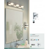 EGLO 94651 | Romendo Eglo zidna lampa 2x LED 960lm 3000K IP44 krom, belo, prozirna