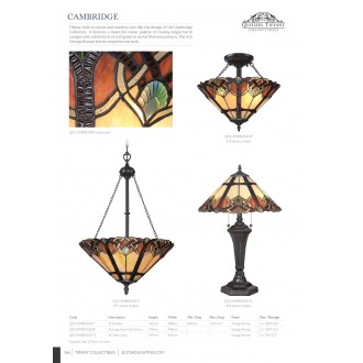 ELSTEAD QZ/CAMBRIDGE/P | Cambridge-EL Elstead visilice svjetiljka 3x E27 brončano smeđe, višebojno