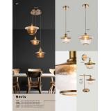 GLOBO 69030 | Nevis Globo visilice svjetiljka 1x E27 antik brončano, prozirno, efekt mjehura