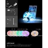 GLOBO 38991 | Globo-LS-Set Globo LED traka lampa daljinski upravljač jačina svetlosti se može podešavati, sa podešavanjem temperature boje, promenjive boje 90x LED 353lm RGBWK IP44 višebojno