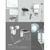 GLOBO 3715S | Radiator-Sol-I Globo reflektor lampa sa senzorom baterija na sunce / solarna, pomerljivo 2x LED 210lm 6500K IP44 čelik, prozirna