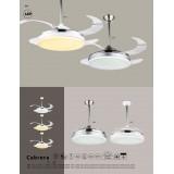 GLOBO 0351 | Cabrera Globo plafonjere ventilatorska lampa daljinski upravljač sa podešavanjem temperature boje, elementi koji se mogu okretati 1x LED 3600lm 3000 - 4000 - 6000K krom, belo, prozirna