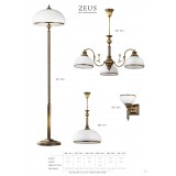 JUPITER 627 ZU P   ZeusJ Jupiter álló lámpa 170cm taposókapcsoló 2x E27 patinás réz, fehér