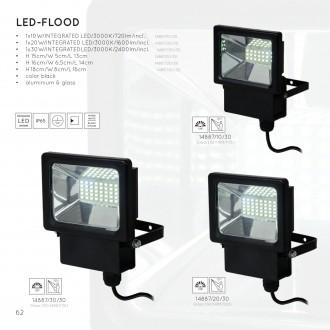 LUCIDE 14887/10/30 | Led Lucide reflektori svjetiljka sa senzorom 1x LED 720lm 3000K IP65 crno