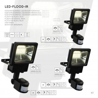 LUCIDE 14888/10/30 | Led Lucide reflektori svjetiljka sa senzorom, svjetlosni senzor - sumračni prekidač 1x LED 720lm 3000K IP44 crno