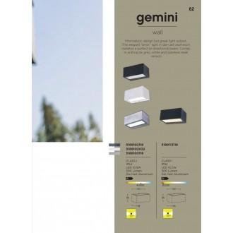 LUTEC 5189113118 | Gemini Lutec fali lámpa 1x LED 500lm 3000K IP54 antracit szürke, átlátszó