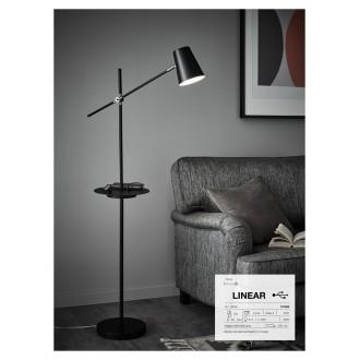 MARKSLOJD 107308 | Linear-MS Markslojd álló lámpa 125cm kapcsoló elforgatható alkatrészek, USB csatlakozó 1x E14 fehér