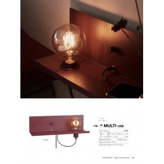 MARKSLOJD 107367 | Multi-MS Markslojd fali lámpa fényerőszabályzós kapcsoló szabályozható fényerő, USB csatlakozó 1x E27 burgundi