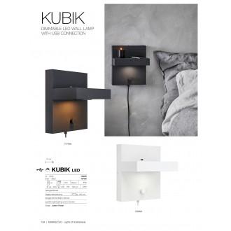 MARKSLOJD 107065 | Kubik Markslojd fali lámpa fényerőszabályzós kapcsoló szabályozható fényerő, USB csatlakozó 1x LED 525lm 3000K fekete