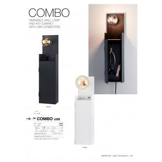 MARKSLOJD 107064 | Combo-MS Markslojd fali lámpa fényerőszabályzós kapcsoló szabályozható fényerő, USB csatlakozó, kulcstartó 1x E27 fehér