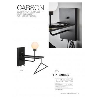 MARKSLOJD 107198 | Carson-MS Markslojd fali lámpa kapcsoló szabályozható fényerő, USB csatlakozó, fogas 1x G9 fekete, opál
