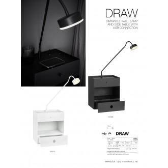 MARKSLOJD 107375 | Draw Markslojd stenové svietidlo prepínač s reguláciou svetla regulovateľná intenzita svetla, USB prijímač, šuplík 1x LED 525lm čierna, opál