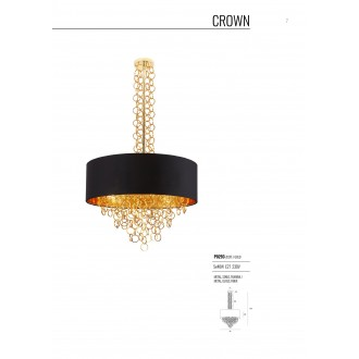 MAXLIGHT P0293 | Crown-MX Maxlight luster svjetiljka 5x E27 crno, zlatno