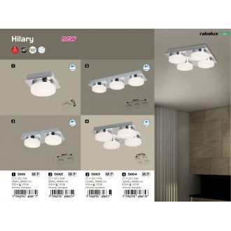 RABALUX 5661   Hilary Rabalux fali, mennyezeti lámpa 1x LED 400lm 4000K króm, opál, kristály hatás