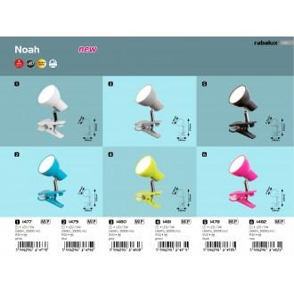 RABALUX 1477 | Noah Rabalux csiptetős lámpa vezeték kapcsoló elforgatható alkatrészek 1x LED 360lm 3000K fehér