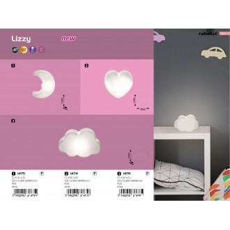 RABALUX 1474 | Lizzy Rabalux LED éjjelifény lámpa kapcsoló elemes/akkus 1x LED 3000K fehér