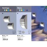 RABALUX 8784 | Santiago Rabalux zidna dekoracija lampa baterija na sunce / solarna, dvodelni set 1x LED 12lm 6000K IP44 plemeniti čelik, čelik sivo