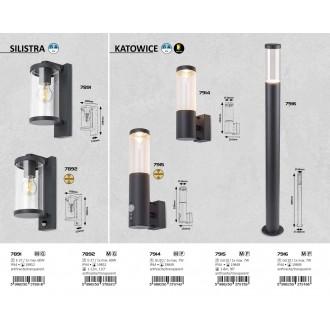 RABALUX 7891 | Silistra Rabalux zidna svjetiljka 1x E27 IP44 antracit, prozirno