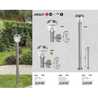 RABALUX 7921 | Amalfi-RA Rabalux álló lámpa 110cm 1x LED 760lm 4000K IP44 szatén króm, átlátszó