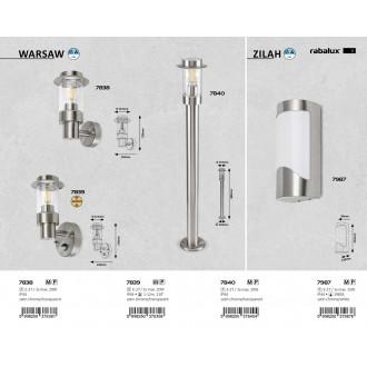 RABALUX 7987 | Zilah Rabalux fali lámpa 1x E27 IP44 szatén króm, fehér