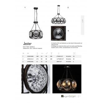 REGENBOGEN 104013112 | Jester Regenbogen visilice svjetiljka 12x E27 7740lm kafena, prozirno