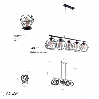 TK LIGHTING 1649 | Galaxy-TK Tk Lighting visilice svjetiljka 5x E27 crno