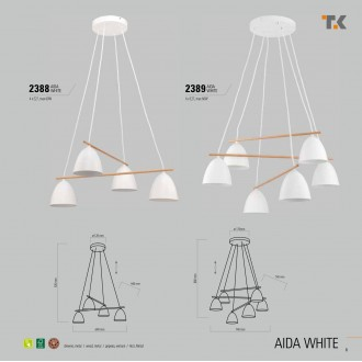 TK LIGHTING 2388 | Aida-TK Tk Lighting visilice svjetiljka 4x E27 bijelo